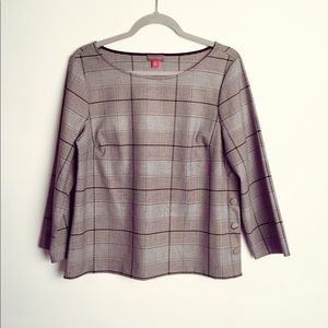 Vince Camuto side button plaid blouse EUC M